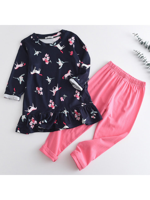 【2Y-9Y】Girl Sweet Unicorn Pattern T-shirt Pants Set