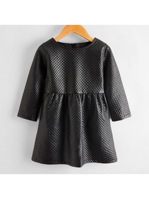 【18M-7Y】Elegant Round Neck Long Sleeve Black Leather Dress