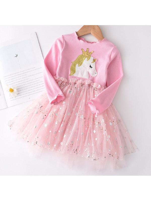 【18M-7Y】Cute Unicorn Print Mesh Dress