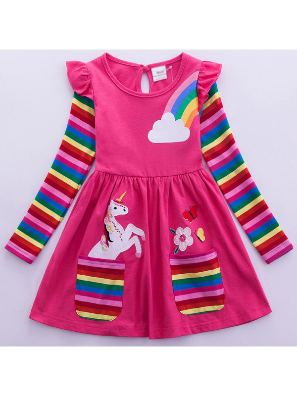 【2Y-9Y】Girl Sweet Rainbow Unicorn Pattern Long Sleeve Dress