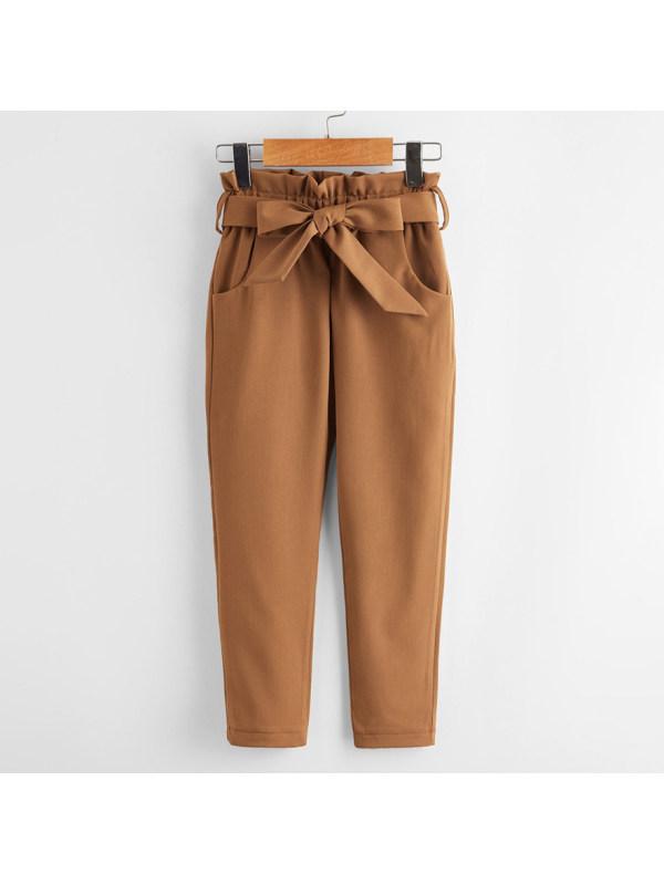 【18M-7Y】Girls Elegant Bow High Waist Trousers