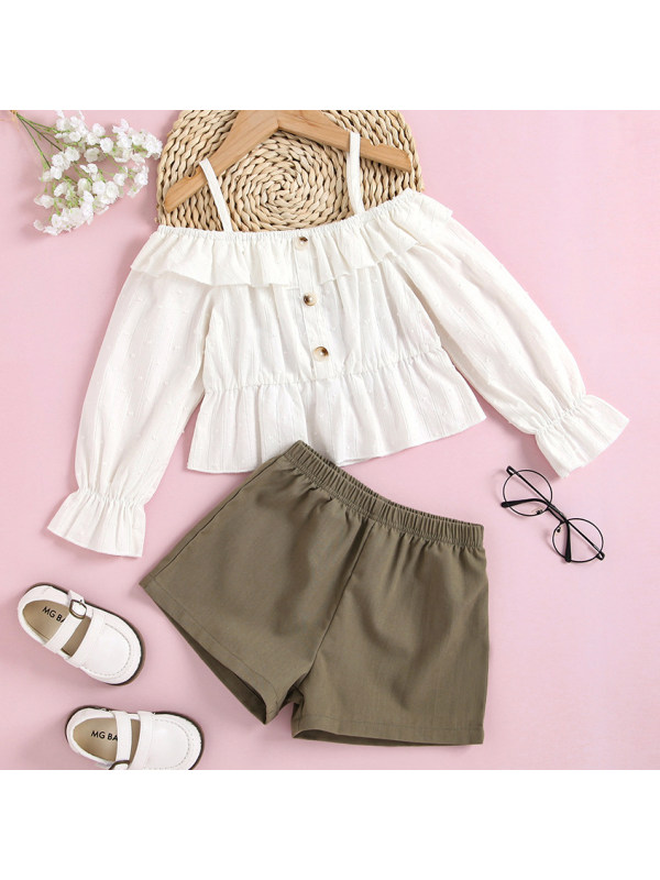 【18M-7Y】Sweet White Shirt And Green Shorts Set