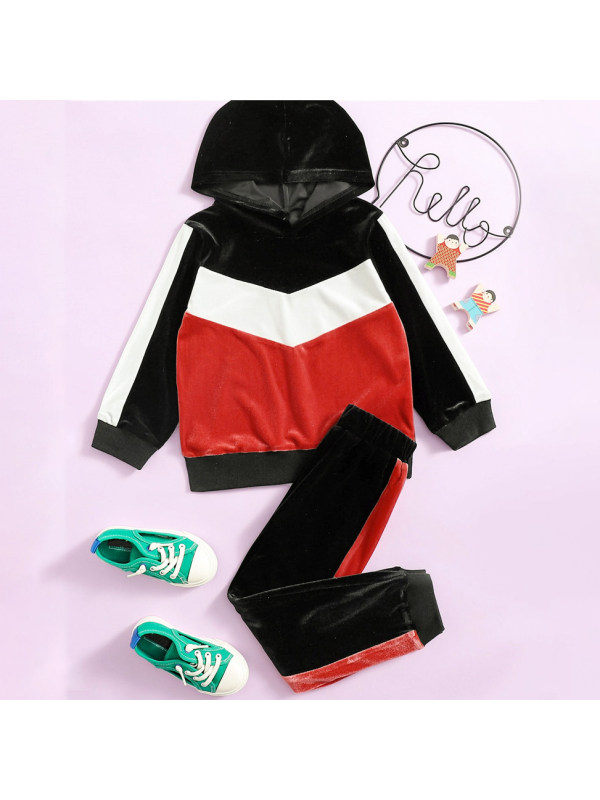 【18M-7Y】Casual Velvet Long-sleeved Hooded Sweatshirt Set