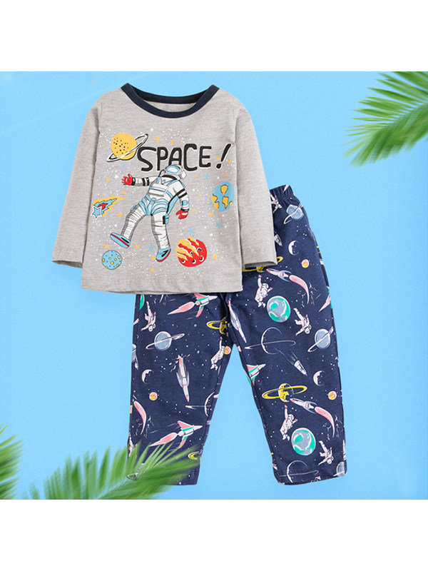 【18M-9Y】Boys Starry Sky Print Long Sleeve Two-piece Suit