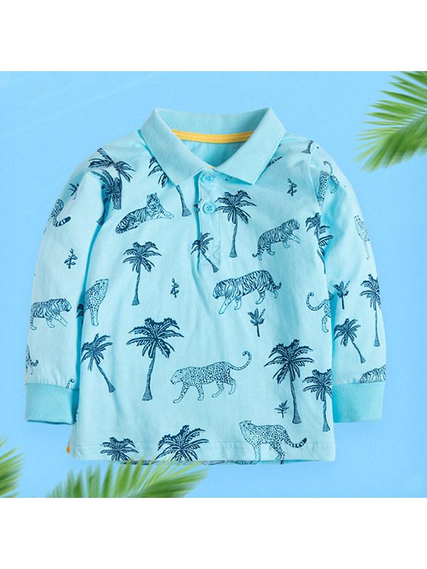 【18M-9Y】Boys Cartoon Print Long-sleeved Polo Shirt