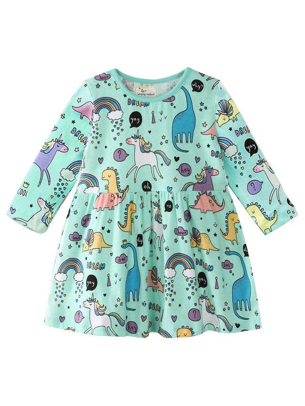 【12M-7Y】Girls Cartoon Print Long Sleeve Dress