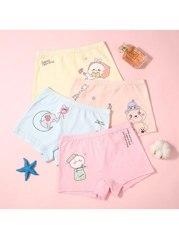 【2Y-15Y】Girls' Cartoon Print Shorts 4 Packs