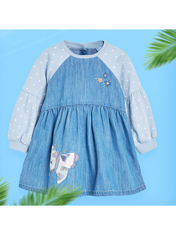 【18M-9Y】Girls Contrast Stitching Denim Dress