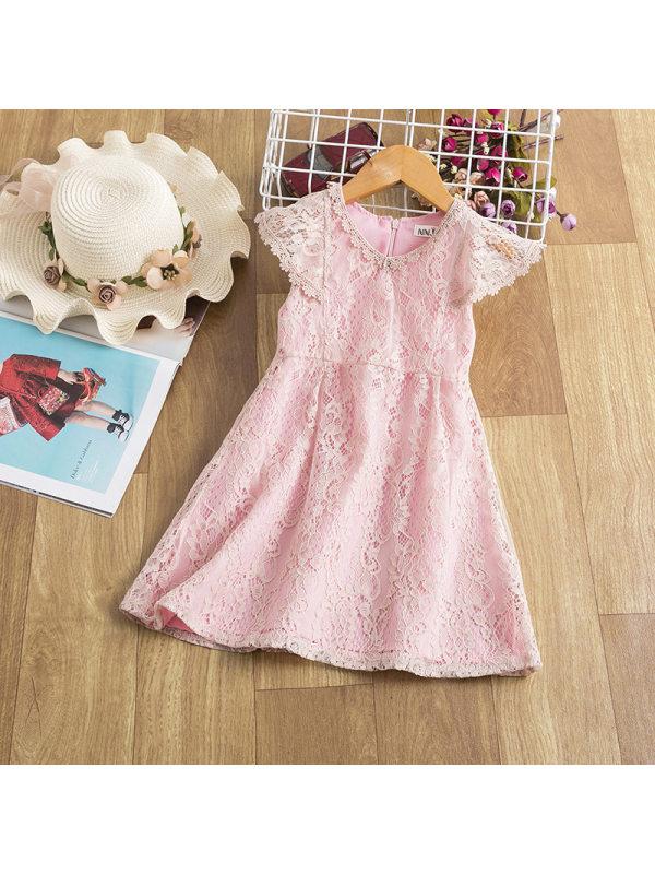 【2Y-9Y】Girls Lace Stitching Dress