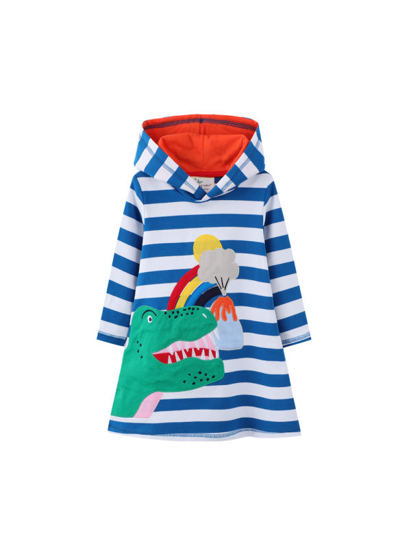 【12M-7Y】Girls Long-sleeved Hooded Thick Dress