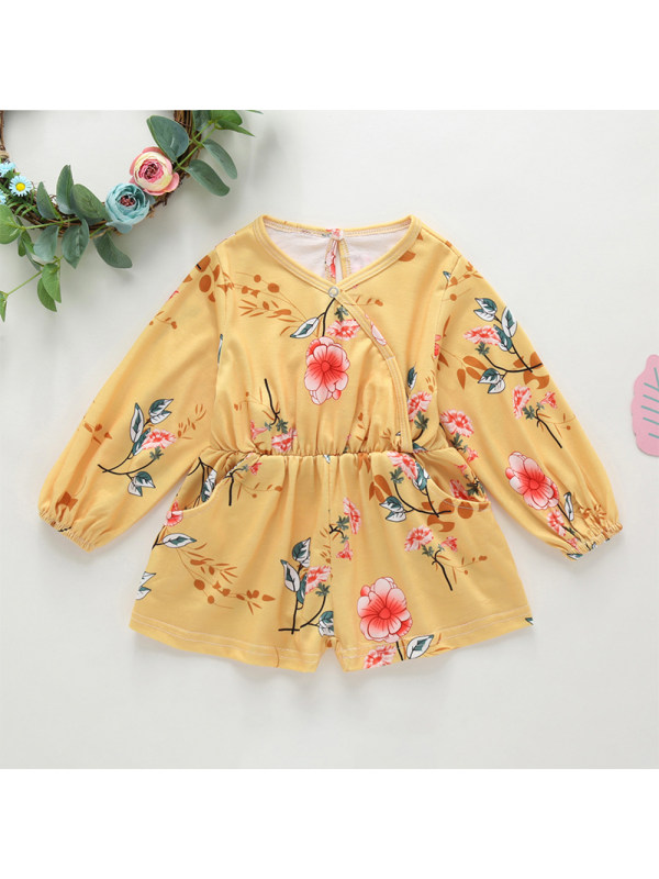 【12M-5Y】Girls Yellow Flowers Long-sleeved Jumpsuit