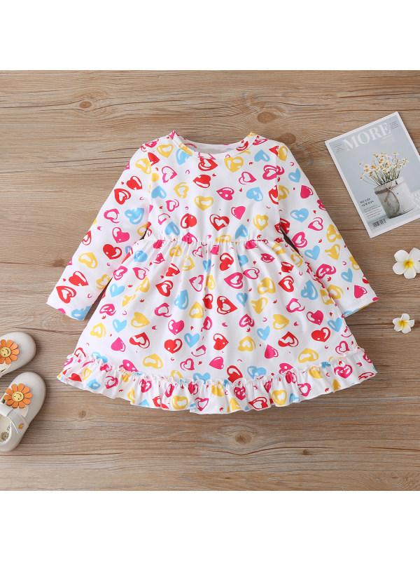 【12M-5Y】Girls Long-sleeved Love Pattern Ruffle Dress