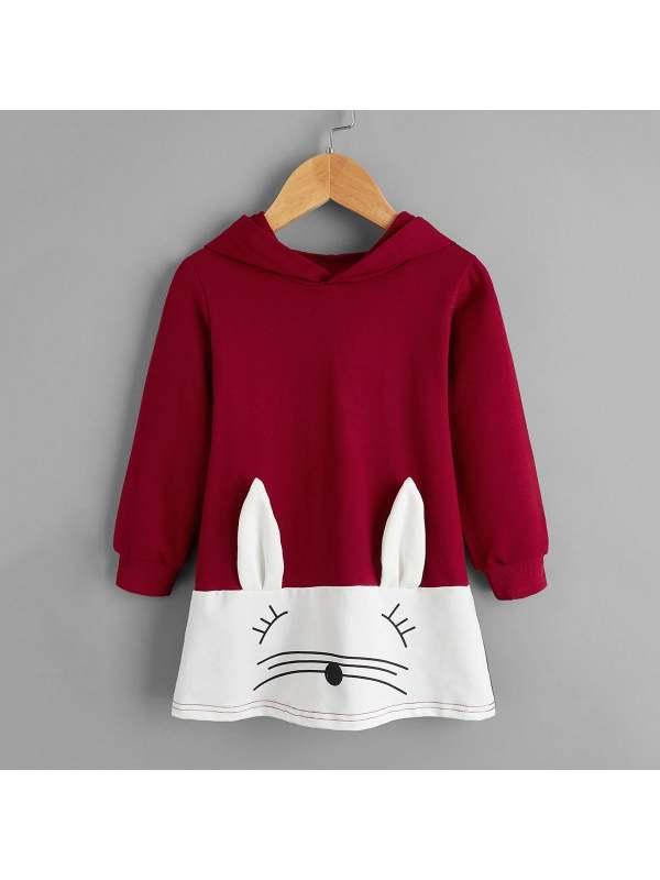 【18M-7Y】Girls Cartoon Rabbit Stitching Print Long-sleeved Hooded Dress
