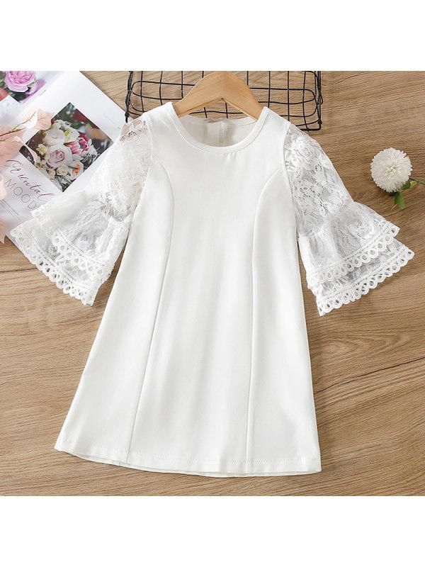 【18M-7Y】Girl Sweet White Lace Stitching Flared Sleeve Dress