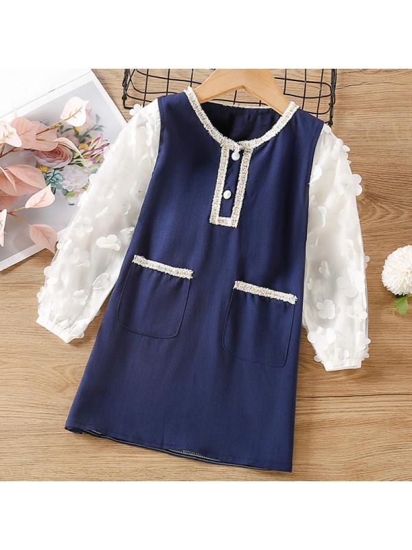 【18M-7Y】Girl Sweet Navy Blue Long Sleeve Dress