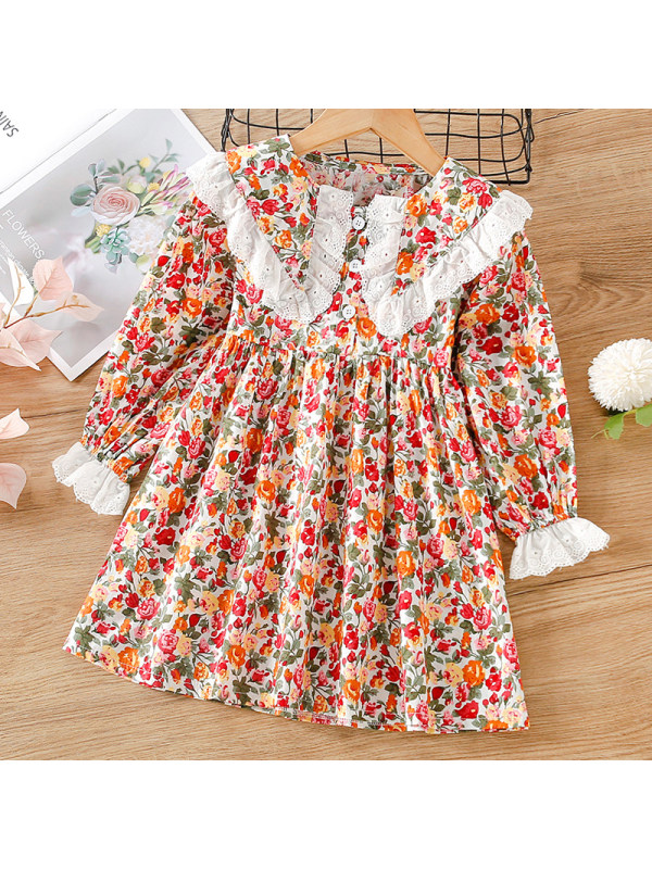 【18M-7Y】Girl Sweet Red Floral Long Sleeve Dress