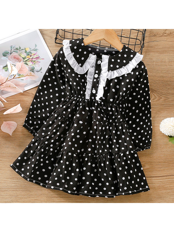 【18M-7Y】Girl Sweet Black Polka Dot Long Sleeve Dress