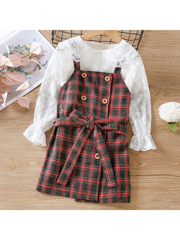 【18M-7Y】Girl Sweet Lace Shirt Plaid Suspender Dress Set