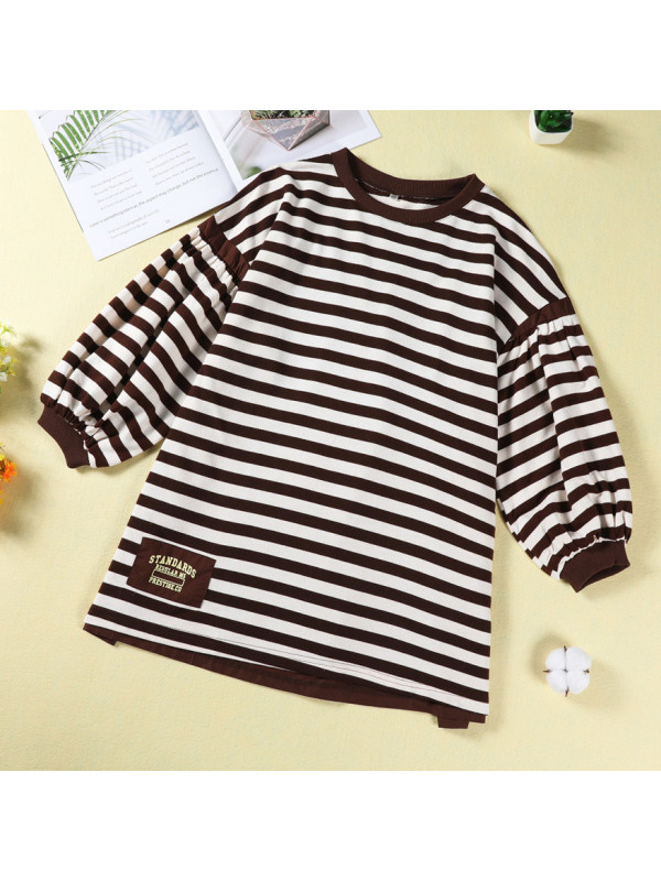 【4Y-13Y】 Casual Letter Print Striped Dress
