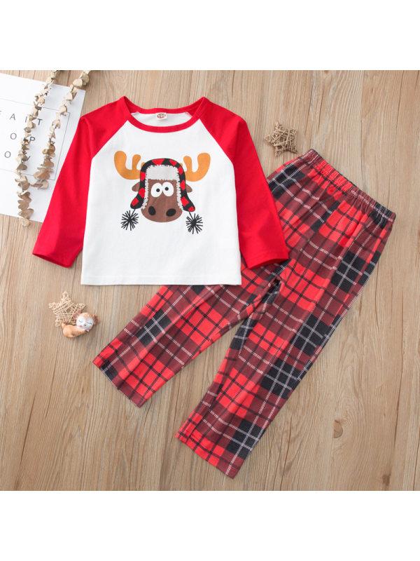 【18M-7Y】Girls Christmas Elk Printed Top With Plaid Pants Homewear Set