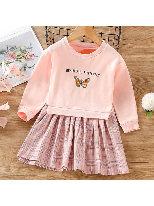 【18M-7Y】Girl Sweet Pink Butterfly Sweatshirt Dress