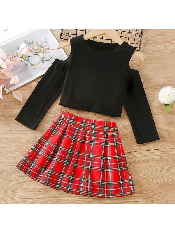 【12M-5Y】Girl Sweet Black T-shirt Red Plaid Skirt Set