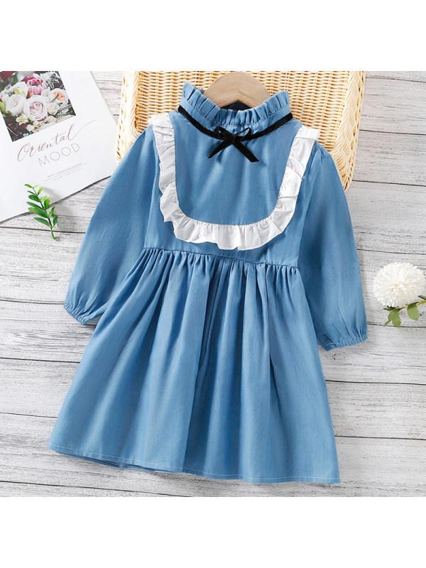 【18M-7Y】Girl Sweet Denim Long Sleeve Dress