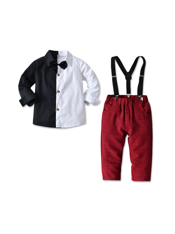【18M-7Y】Boy's Long-sleeved Shirt and Bib Two-piece Suit