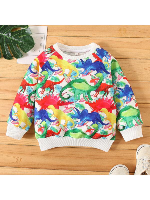 【18M-7Y】Boys Colorful Little Dinosaur Print Sweatshirt