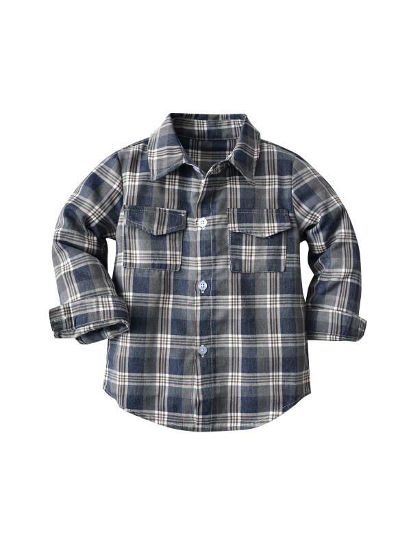 【18M-9Y】Boys Long Sleeve Check Shirt