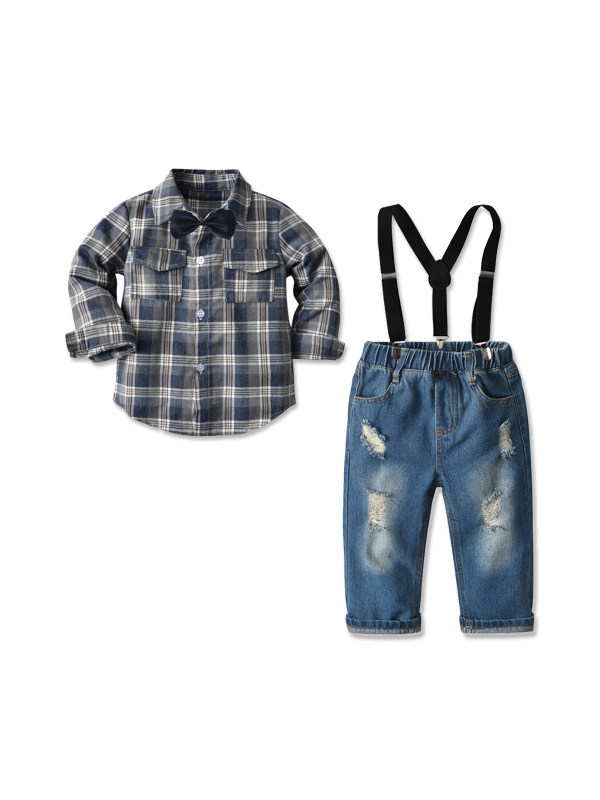【18M-7Y】Boy's Check Shirt Denim Suspenders Trousers Two-piece Suit