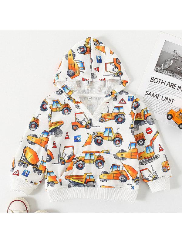 【18M-7Y】Boys Car Print Long-sleeved Sweatshirt