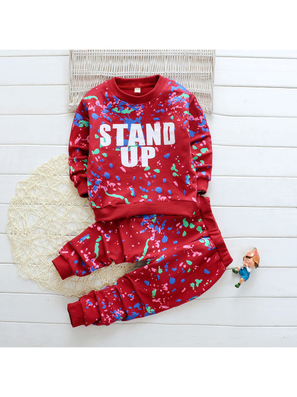 【18M-7Y】Girls Paint Shop Letter Printing Long Sleeve Two-piece Suit