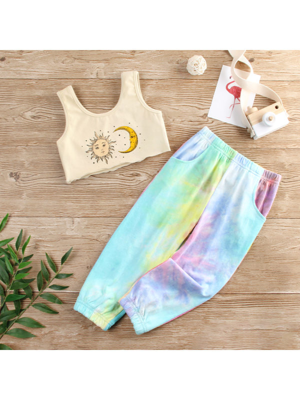 【18M-7Y】Girls' Tie-dye Vest And Trousers Two-piece Suit