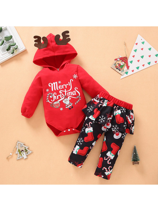 【6M-3Y】Baby Christmas Printed Long Sleeve Two-Piece Set