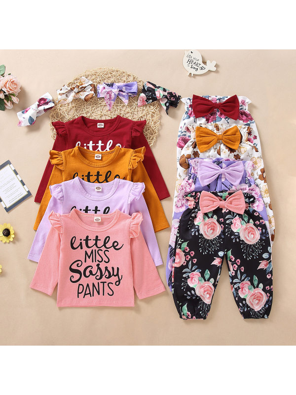 【12M-5Y】Girls Letter Print Long Sleeves Set With Bow Three-piece Suit