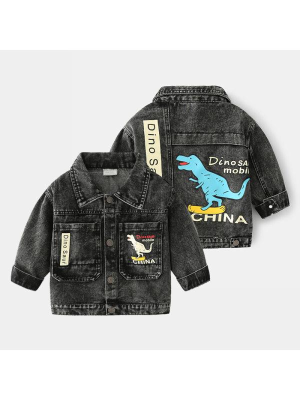 【18M-7Y】Boys Cartoon Print Denim Jacket