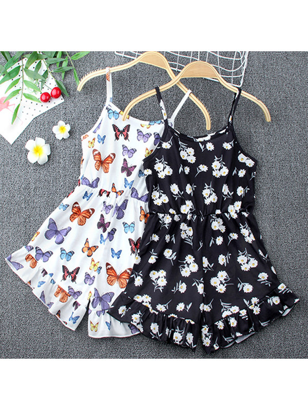 【18M-7Y】Girls' Printed Sling Jumpsuit Black and White Two Pieces