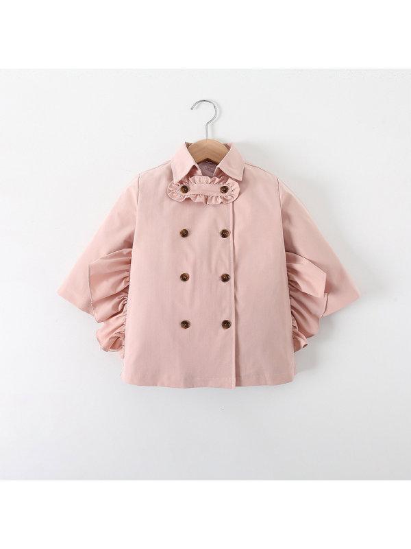 【18M-7Y】Girls Double-breasted Ruffled Windbreaker Jacket