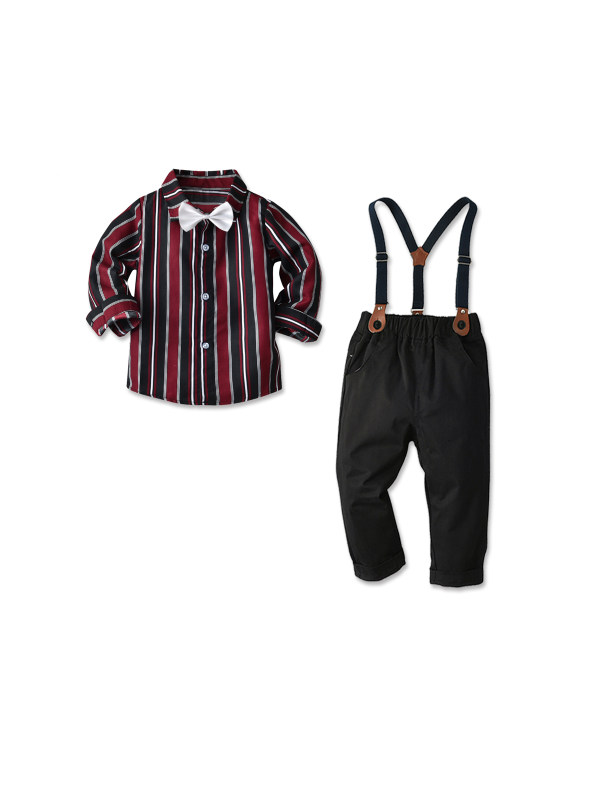 【18M-7Y】Boys Long-sleeved Striped Shirt and Suspenders Trousers Two-piece Suit