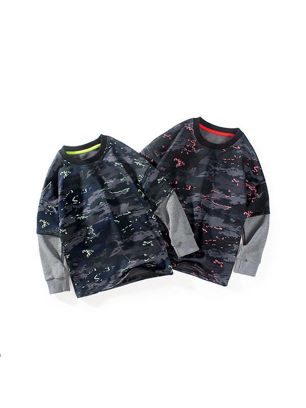 【4Y-13Y】Gay Contrast Stitching Camouflage Sweatshirt