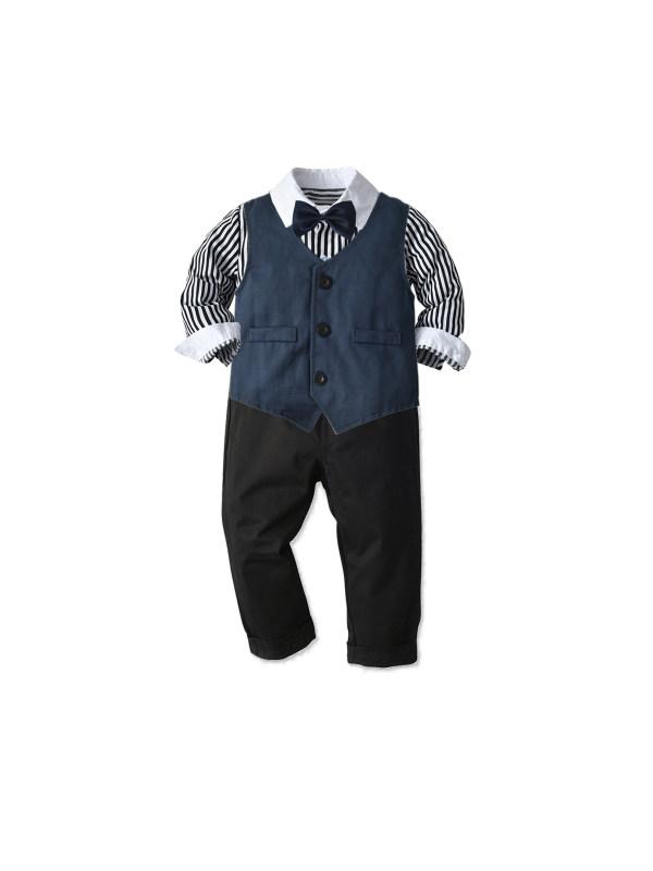 【12M-7Y】Boys Long Sleeve Shirt Waistcoat Long Sleeve Three-piece Suit