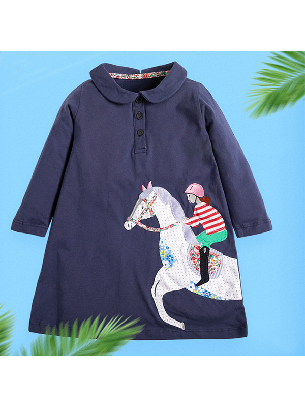 【18M-9Y】Girls' Long-sleeved Embroidered Dress