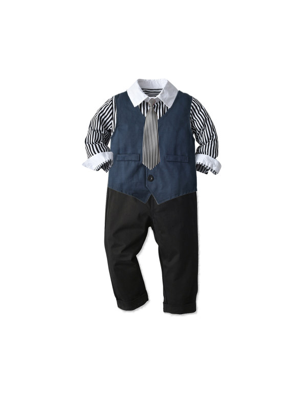 【12M-7Y】Boys' Long-sleeved Shirt Vest and Trousers Suit