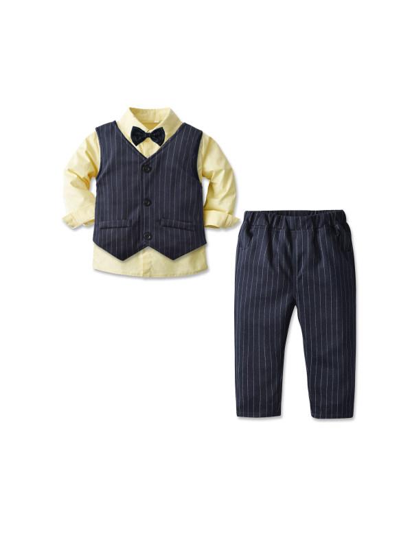 【18M-7Y】Boy's Long Sleeve Shirt Waistcoat Trousers 3-piece Suit