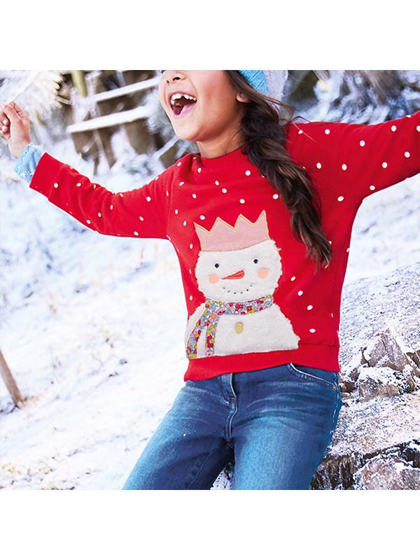 【18M-9Y】Girls Polka Dot Cartoon Print Long Sleeve Sweatshirt