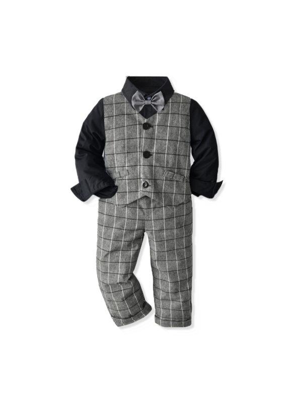 【18M-7Y】Boys Long Sleeve Shirt Waistcoat Trousers Dress Three-piece Suit