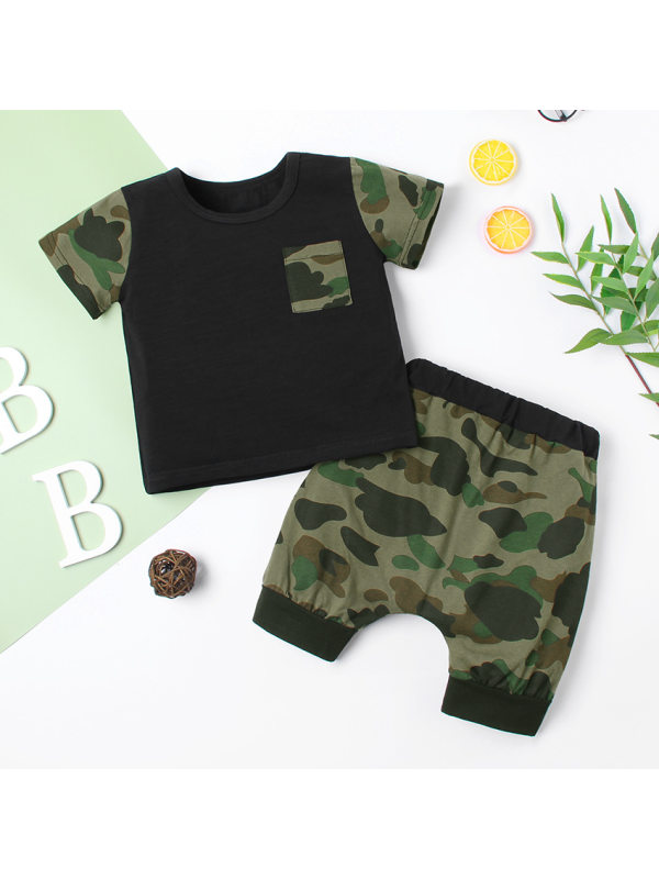【12M-5Y】Boys Short Sleeve T-shirt Shorts Camouflage Two-piece Suit