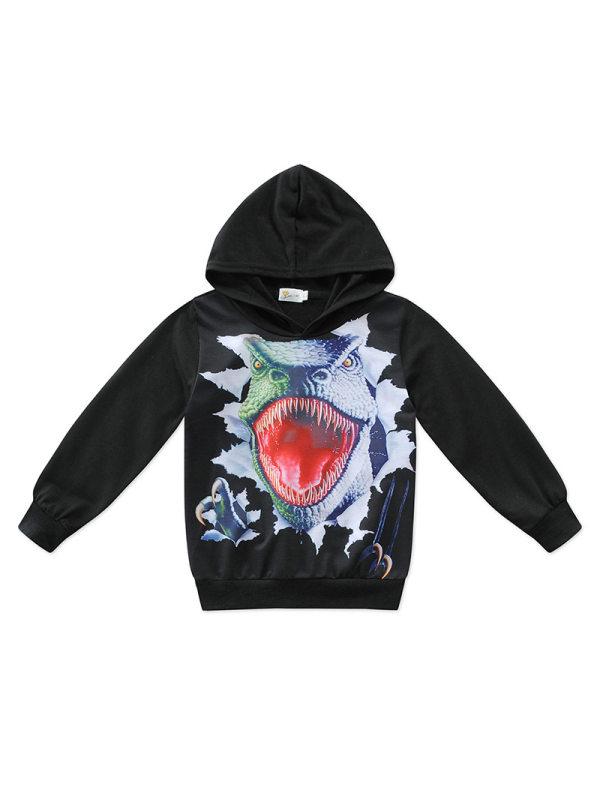 【2Y-11Y】Big Boy Cartoon Dinosaur Round Neck Long Sleeve Hooded Sweatershirt