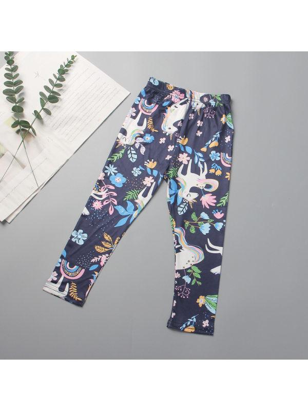【2Y-11Y】Girls Elastic Band Unicorn Flower Pattern Leggings